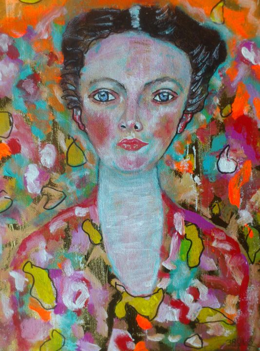 klimtie-30x40.jpg - Painting,  40x30x1.6 cm ©2018 by Bruno Briatte -                                                            Art Deco, Canvas, Women, femme, deco, fleurs, or