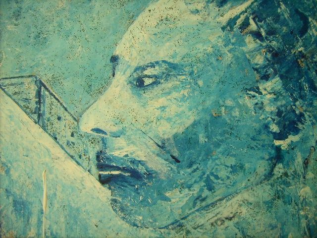 Autoportrait bleu - Painting,  36x48 cm ©2002 by Bruno Briatte -                            Abstract Expressionism, autoportrait bleu diable
