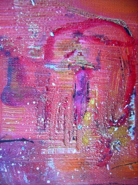Nid doré - Painting,  15x15 cm ©2008 by Bruno Briatte -                            Expressionism, couple lit amour or rouge petit homme beau rose