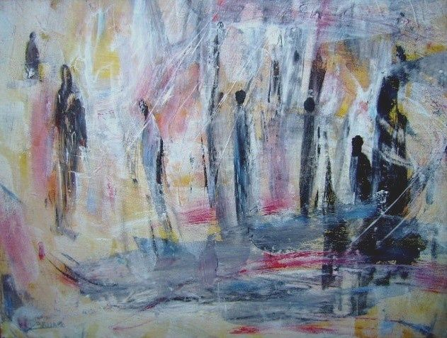 The people of the world - Painting,  60x60 cm ©2009 by Bruno Briatte -                            Expressionism, le monde avance