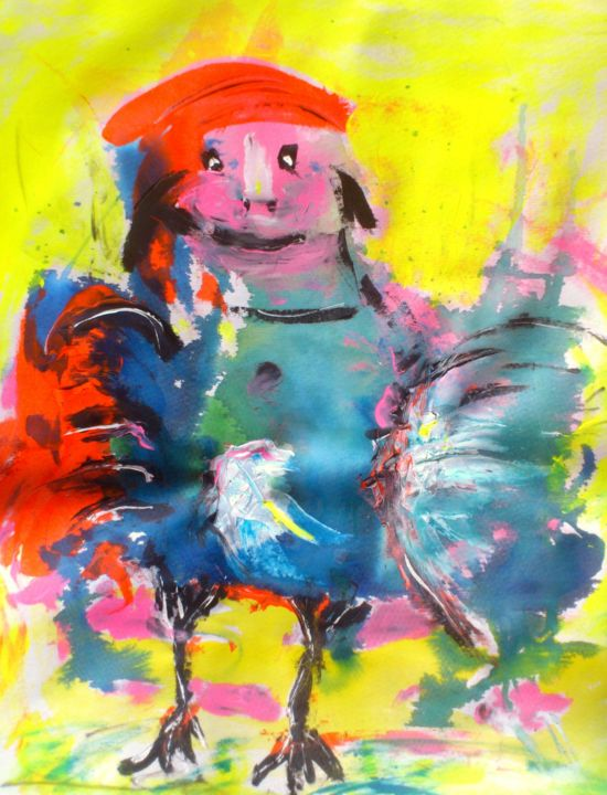hybridomus-foutus-70x80.jpg - Painting,  80x70x1.5 cm ©2016 by Bruno Briatte -                                                            Abstract Art, Canvas, Animals, poulet, homme, hormone, maison