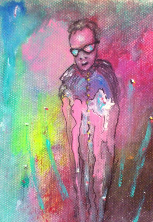 Déglingu'art le monde invisible - Painting,  17x13 cm ©2017 by Bruno Briatte -                                                            Art Deco, Canvas, Performing Arts, lunettes, couleur, bleu, homme, gai, vie