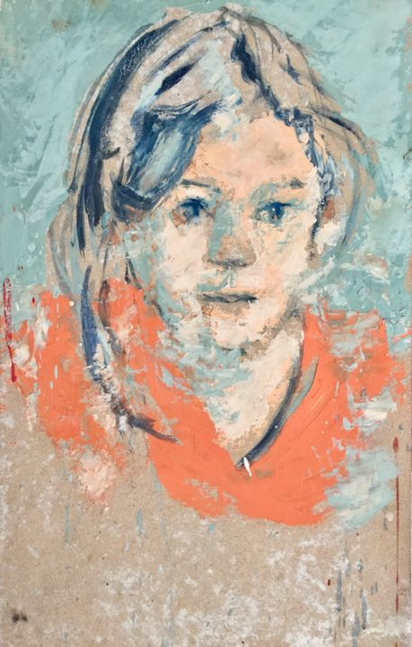 Portrait Contemporain Peinture Tableau Moderne - Painting,  17.7x7.1x0.6 in, ©2018 by Bruno Raharinosy -                                                                                                                                                                                                                                                                                                                                                                                                          Figurative, figurative-594, Portraits, Portrait, Portrait Contemporain, Portrait Tableau, Portrait Peinture, Portrait Moderne