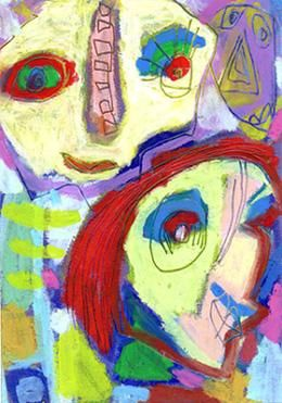De famille - Painting,  5.9x3.9 in, ©2006 by Bruno Salaün -