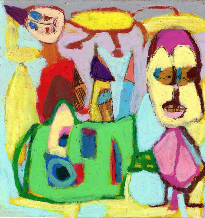 l-entourloupe.jpg - Drawing,  6.7x6.7 in, ©2014 by Bruno Salaün -                                                                                                                                                                          Naive Art, naive-art-948, Colors
