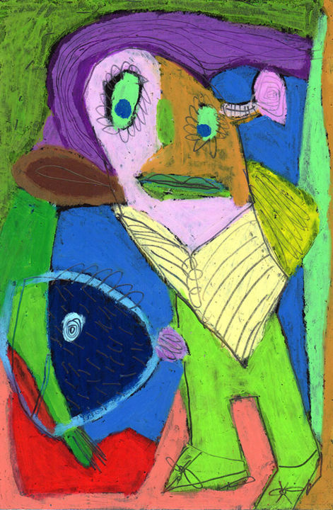 mon-beau.jpg - Drawing,  25x17 cm ©2015 by Bruno Salaün -                                                        Naive Art, Paper, Colors