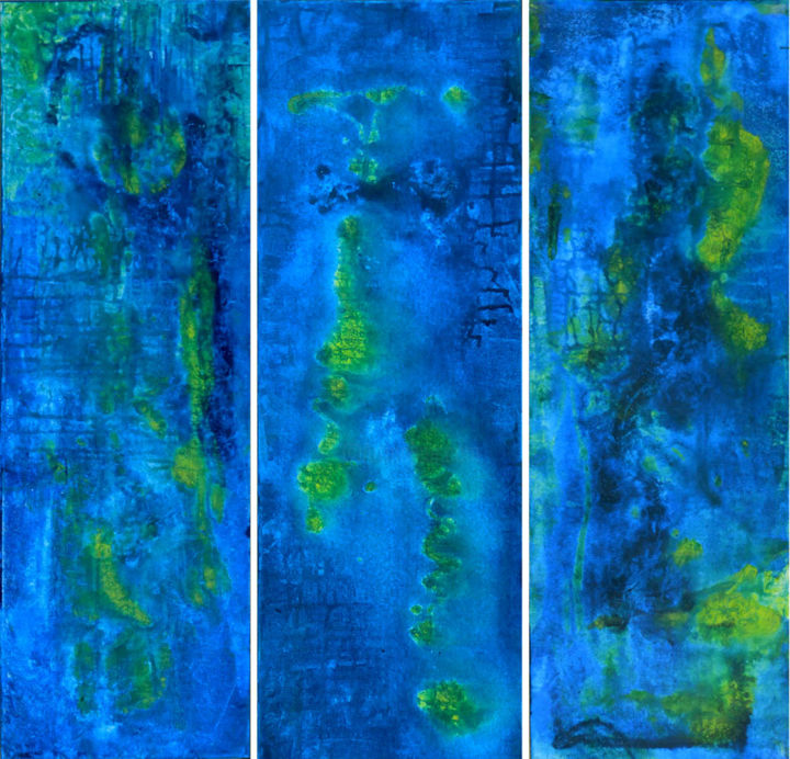 """Painting titled """"Undersea Triptych"""" by Barbara Tabachnick, Original Art, Acrylic"""