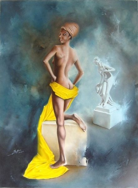 Soumya - Painting,  81x60 cm ©2007 by Laurent Buffnoir -                            Nude, nu, nude, figure, huile, oil, drapé, statue, sculpture, bleu, blue, femme, woman, ladie, noire, black