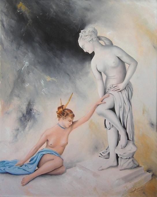 Cléa - Painting,  92x73 cm ©2005 by Laurent Buffnoir -                            Nude, nu nude sculpture Vénus Venus Louvre femme woman huile oil drapé