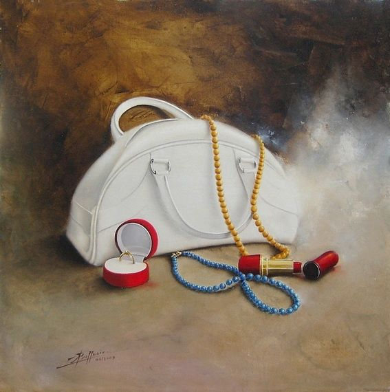 affaires de femme - Painting,  40x40 cm ©2007 by Laurent Buffnoir -                            Realism, nature morte, still life, huile, oil, réalisme, bijoux, jewels, collier, string