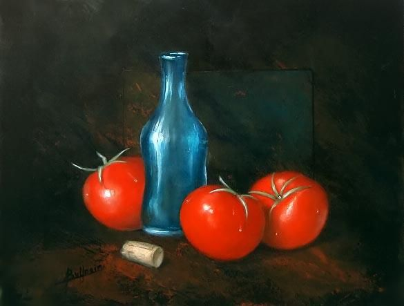 Trois tomates - Painting ©2003 by Laurent Buffnoir -                            Realism, tomate tomatoe nature.morte still.life acrylique