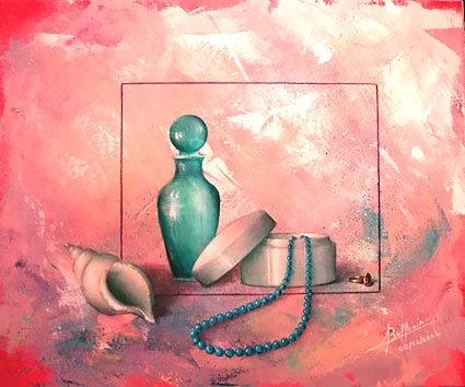 Or et perles - Painting ©2002 by Laurent Buffnoir -            acrylique nature morte still life
