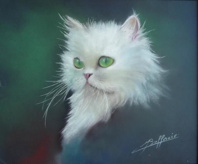 Pearl - Painting,  54x45 cm ©2006 by Laurent Buffnoir -            Pastel, chat, cat