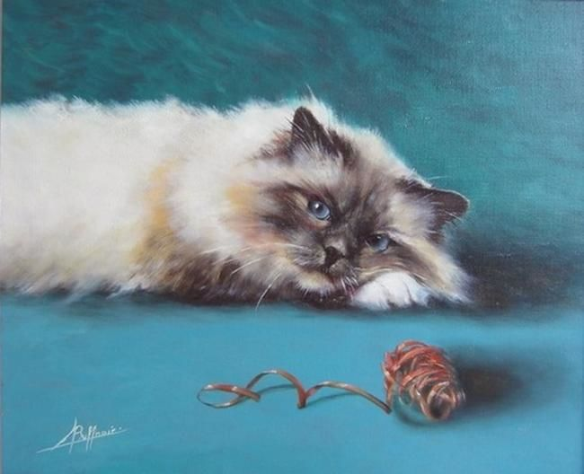 Pelotte - Painting,  46x34 cm ©2009 by Laurent Buffnoir -            cat, chat