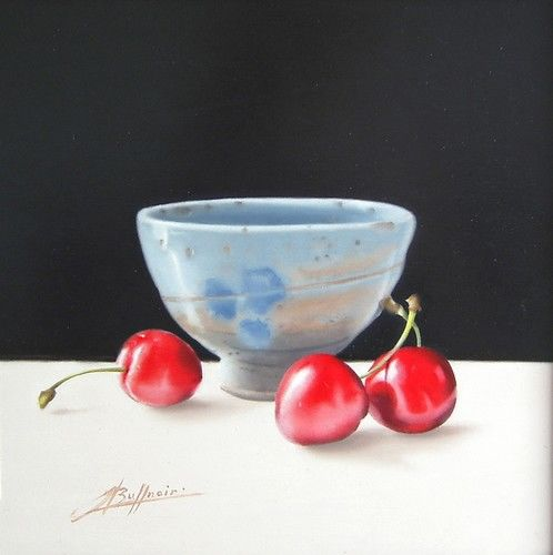 Cherry Cherry - Painting,  20x20 cm ©2010 by Laurent Buffnoir -            nature morte aux cerises et bol bleu