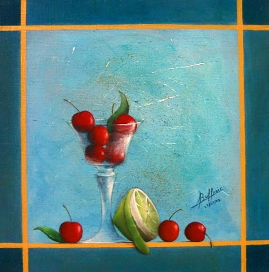 Cerises et citrons verts - Painting ©2003 by Laurent Buffnoir -                            Realism, acrylique cerise cherry citron lemon nature.morte still.life