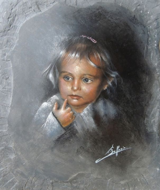 Elodie - Painting,  60x50 cm ©2012 by Laurent Buffnoir -            Portrait d'une petite fille au pastel