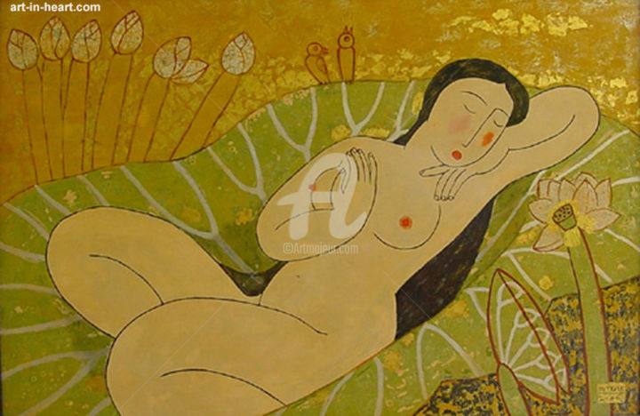 """Painting titled """"Lotus Dream into po…"""" by Bui Trong Du, Original Art, Other"""