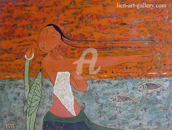 """Painting titled """"Beautiful glamor gi…"""" by Bui Trong Du, Original Art, Other"""