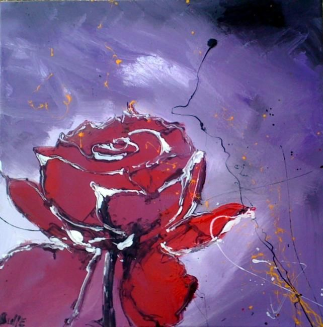 solitude - Painting,  23.6x23.6 in, ©2011 by Alain Bulle -                                                                                                                                                                          Figurative, figurative-594, rose