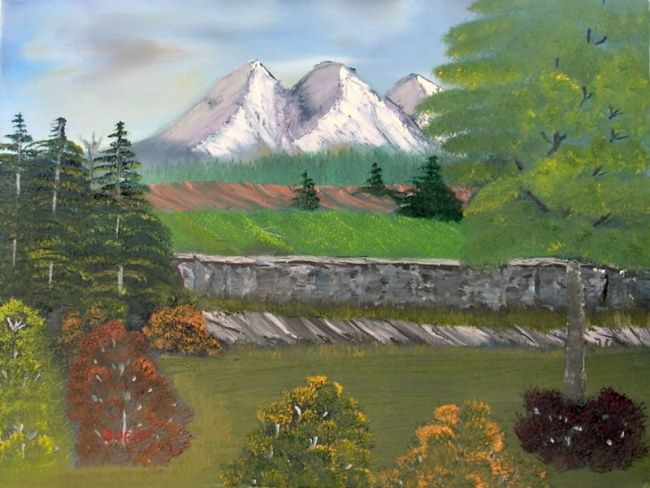 Back Porch View - Painting,  16x20 in, ©2007 by Burie Smith -