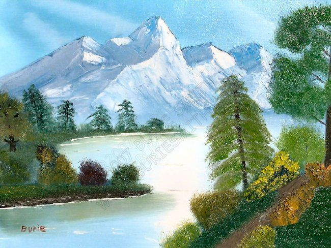 Mystical Mountains - Painting,  18x24 in, ©2006 by Burie Smith -