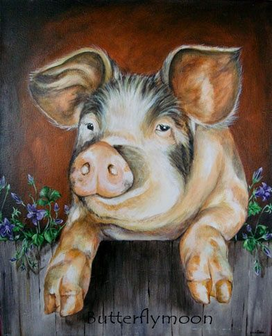 C'est le cochon!! - Painting,  16.1x13 in, ©2007 by Butterflymoons -