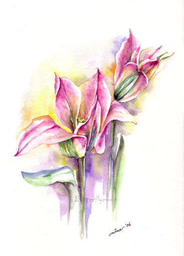 Tulip - Painting,  12.6x9.5 in, ©2006 by Butterflymoons -