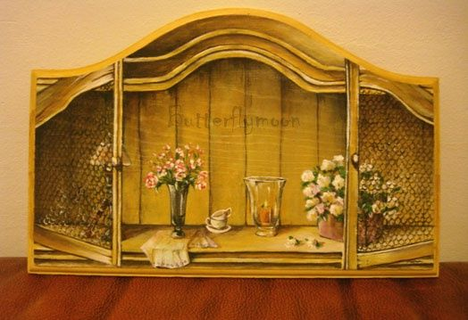Trompe l'oeil - Painting,  5.9x9.1 in, ©2009 by Butterflymoons -
