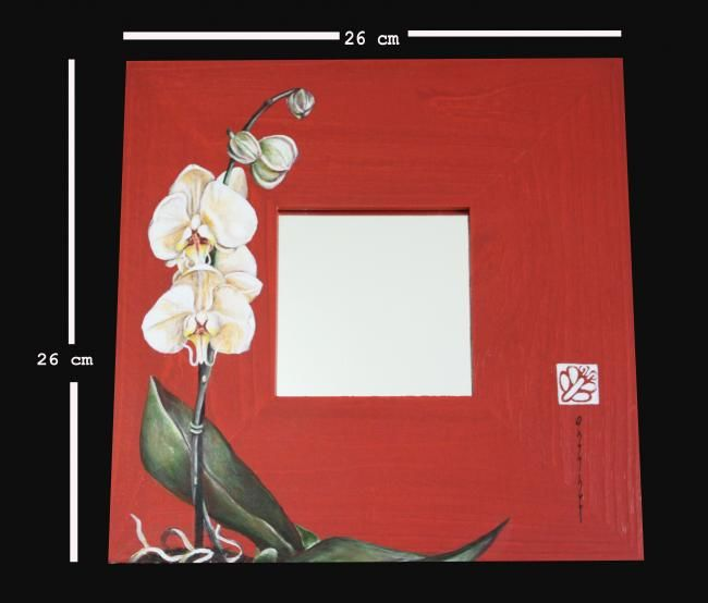 White orchid - Painting,  10.2x10.2 in, ©2011 by Butterflymoons -