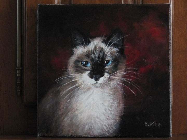 Le chat Moustic - Painting,  30x30 cm ©2011 by B.WITH -                                                            Figurative Art, Canvas, Animals, chat