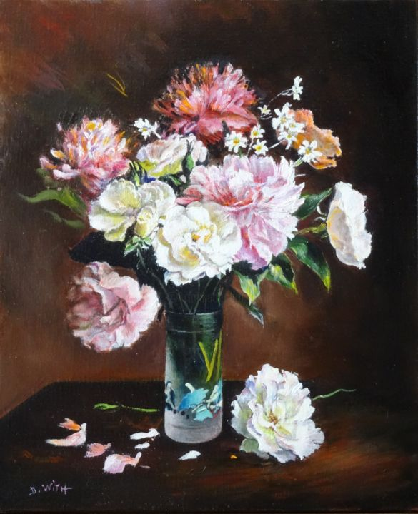187 roses blanches et pivoines roses 8f 46x38 for Bouquet roses blanches