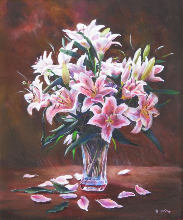 bouquet-de-lyliums-10f-55x46.jpg - Painting,  55x46 cm ©2016 by B.WITH -                                                            Figurative Art, Canvas, Flower, bouquet, lylium