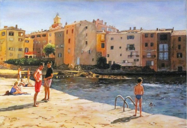 Baignade-à-St-Tropez-10p-55x38.jpg - Painting,  38x55 cm ©2016 by B.WITH -                                                            Figurative Art, Canvas, Seascape, st tropez, marines, port, baignade