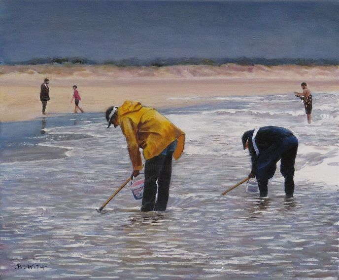 pêcheurs-à-pieds- - Painting,  15x18.1 in, ©2016 by B.WITH -                                                                                                                                                                                                                                                                      Figurative, figurative-594, Seascape, oleron, pecheurs