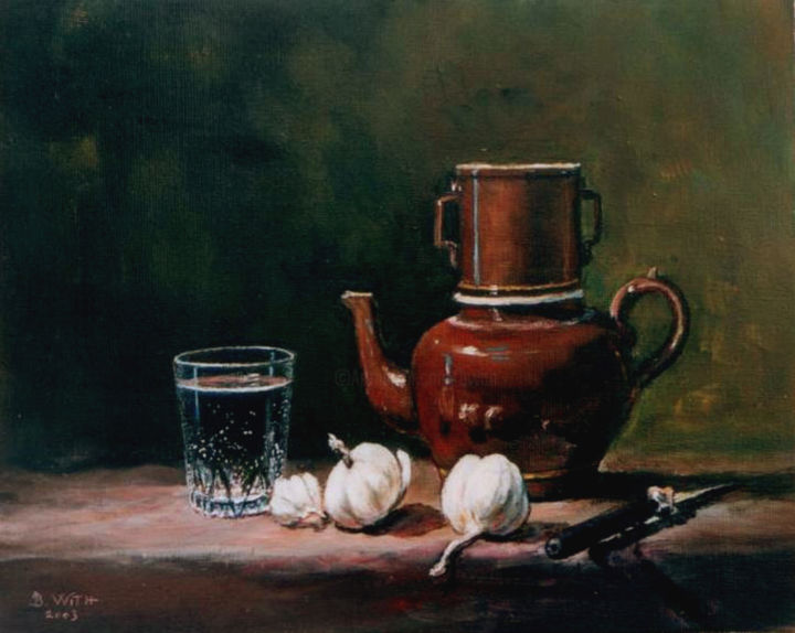 ail-verre-d-eau-et-cafetiere.jpg - Painting,  13x16.1 in, ©2016 by B.WITH -                                                                                                                                                                                                                          Figurative, figurative-594, Still life, nature morte