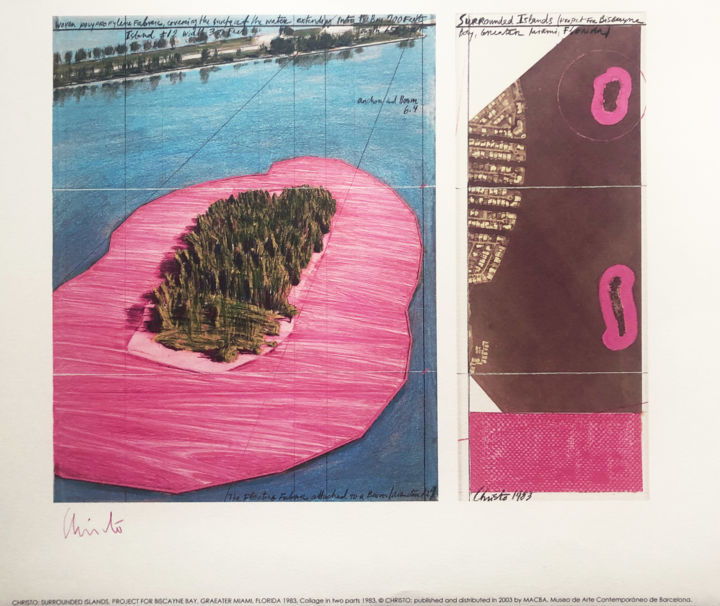 """Printmaking titled """"Christo: Surrounded…"""" by Chris North, Original Art, Lithography"""