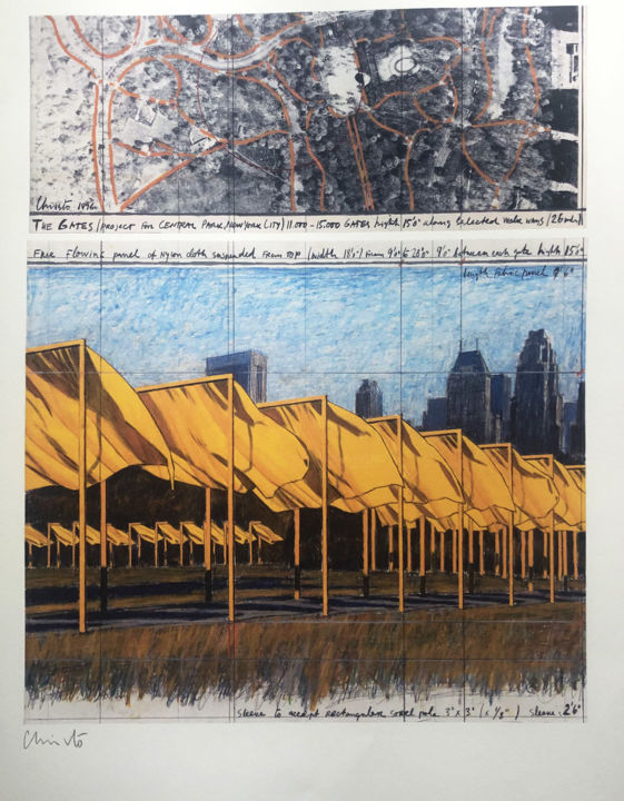 """Printmaking titled """"Christo: The Gates…"""" by Chris North, Original Art, Lithography"""