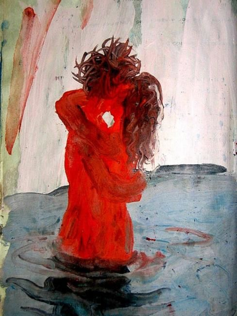 """Painting titled """"beso"""" by Gabriel Muguerza, Original Art, Oil"""
