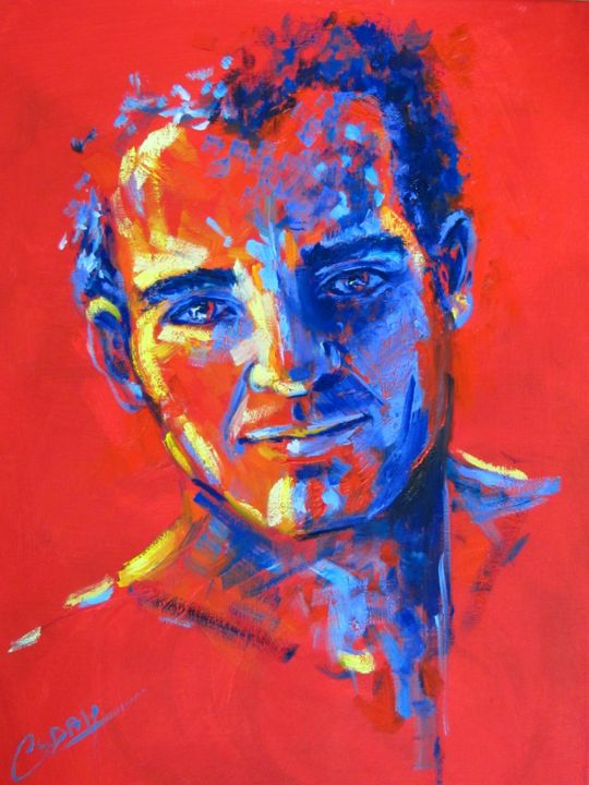 Paisible - Painting,  17.7x13 in, ©2017 by Cadam -                                                                                                                                                                                                                                                                                                                                                              Conceptual Art, conceptual-art-579, Portraits, Men, Portrait masculin, Visage homme, peinture homme