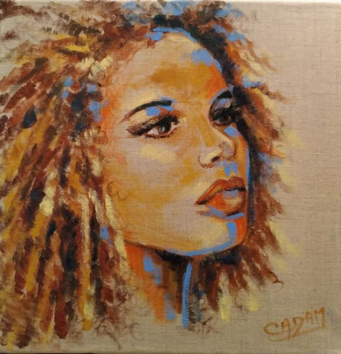 Sans aucun doute - Painting,  30x30 cm ©2017 by Cadam -                                                                                                Art Deco, Figurative Art, Fauvism, Contemporary painting, Canvas, Portraits, portrait naturel, portrait teinte naturelle, toile de lin naturelle