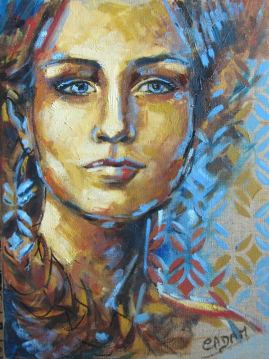 Courage - Painting,  50x40 cm ©2018 by Cadam -                                                                                                Art Deco, Figurative Art, Contemporary painting, Canvas, Women, Portraits, couleur terre, couleur ciel, toile de lin, couleur lin