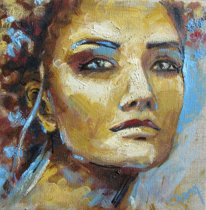 Naturellement - Painting,  20x20 cm ©2018 by Cadam -                                                                                                Art Deco, Figurative Art, Contemporary painting, Canvas, Women, Portraits, créativité, portrait créatif, toile de lin