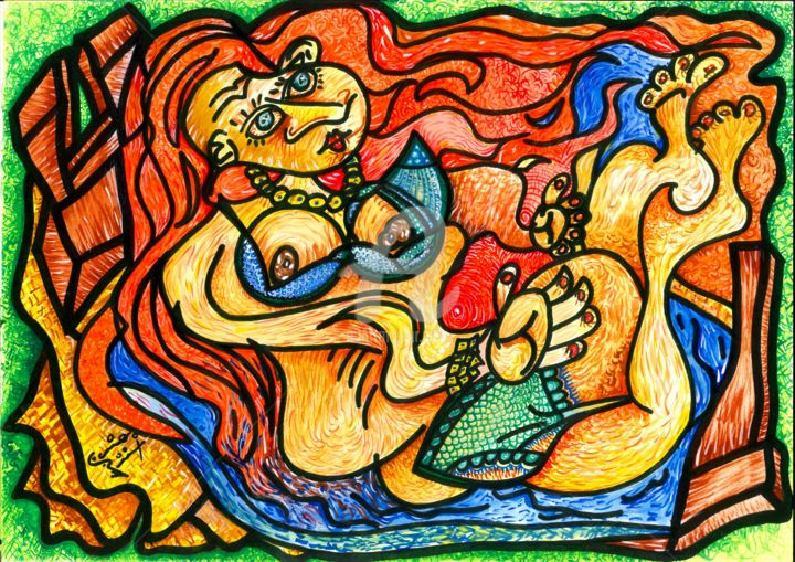 201709041525-0001.jpg - Painting,  116.9x165.4 in, ©2017 by Caio Ricci -                                                                                                                                                                                                                                                                                                                                                          Abstract, abstract-570, Love / Romance, Colors, Body, Erotic, Women