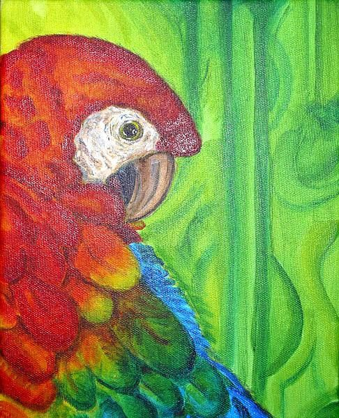Yet Another Red Parrot - Painting ©2005 by Calzephyr -