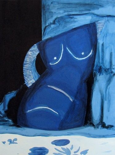 Blue Jug - Painting,  20x16 in ©2008 by Calzephyr -