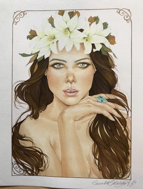 """Painting titled """"Lily"""" by Camila Cataldo, Original Art, Watercolor"""