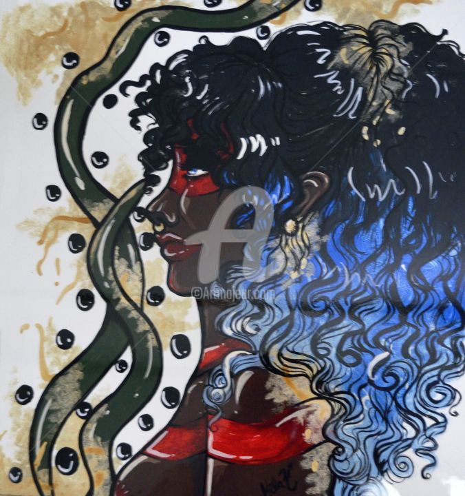 """Painting titled """"AfroTupi"""" by Milaht, Original Art, Acrylic"""