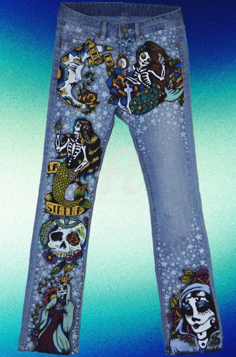 """Painting titled """"Tattoo on your legs"""" by Milaht, Original Art, Other"""