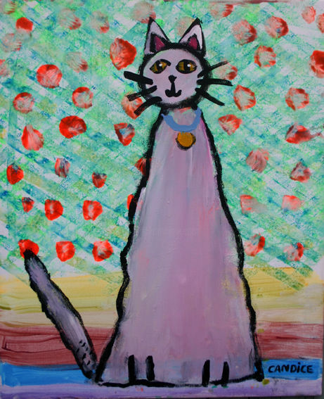 Fraisy - Painting,  17.7 in, ©2013 by Candice TEJEDOR -                                                              fraisy chat art naif peinture toile enfant
